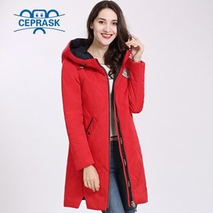 Women's Coat Spring Autum Hot sale Thin Cotton Parka Long Plus Size Hood Women Jacket New Designs Fashion CEPRASK 201020