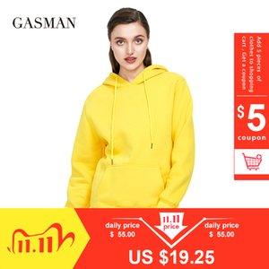 Gasman autunno giallo felpe spesse Pullover inverno incappucciato allentato femminile cappotto felpa lungo tasca sulla manica 2020