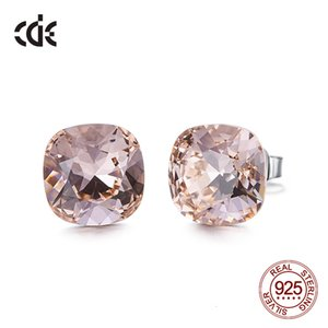 Cde 925 Sterling Silver Square Stud Embellished with Crystals From Swarovski Minimalist Earrings Women Jewellery
