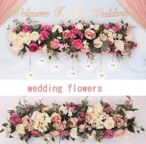 Düğün sahne sahne kılavuz çiçek satır Avrupa düğün simülasyon ipek nakış topu duvar çiçek satırları gül
