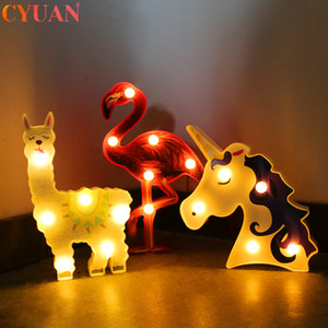 Cartoon Night Lights Flamingo Alpaca Unicorn Lamp LED 3D Painted Lamp Kids Gifts Home Decor Unicorn Party Table Decorations