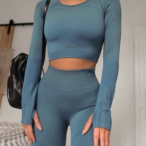 Training Seamless Yoga Sport Outfits Frauen Red Rib 2 Stück Dry Fit Ausschnitt Langarm Crop Top Leggings Gym Anzug Fitness-Set