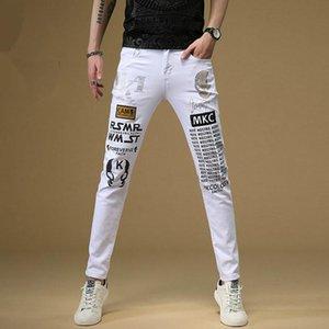 2020 designer fashion stretch men's jeans white print leggings letters men casual denim denim long section