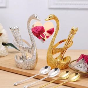7 pçs / set elegante swan forma de frutas base titular garfos conjunto de aço inoxidável salada sobremesa garfos colher de café Swan Tither Utherware