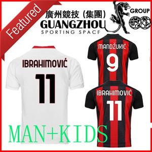 Mandzukic 9 20 21 AC Üçüncü Uzakta Futbol Jersey Milan 2021 # 11 Ibrahimovic Paqueta Bennacer Rebic Romagnoli Erkekler + Çocuklar Beyaz Futbol Gömlek