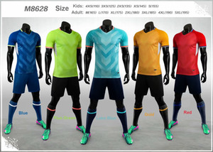 2020-2021 Blank Adult Kids Soccer Jersey Set Football Kit Men Child Futbol Training Uniforms Set De Foot Team Customized M8628