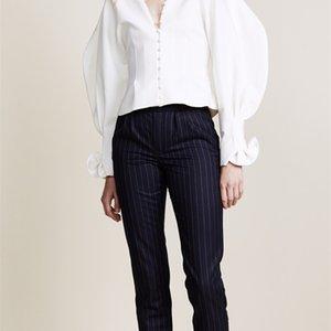 Getsring Gömlek Bluz Vintage V Boyun Beyaz Fırfır Bluzlar Vuruş Gömlek Kore Üst Kadınlar Bahar Y200402