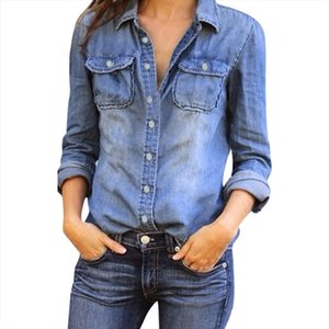 Women Blouse Women Casual Blue Jean Denim Long Sleeve Fashion Solid Sexy Shirt Womens Tops And Blouses Camisa Femenina 20