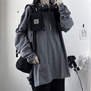 spring 2021 New autumn cotton shirt solid color neck loose sleeve long basic women's t-shirts y429 HZE5 HOW2