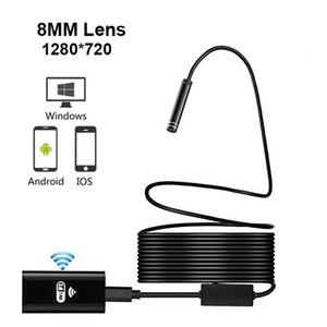 WIFI endoscopio cámara HD 720P de la lente 8mm de inspección inalámbrica suave cable impermeable boroscopio Para Android IOS Teléfono Mac endoscopio 1M 3M 5M