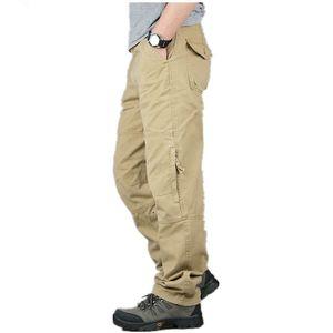 Spring and autumn bulk men's multi bag cotton thin pants tactical camping climbing military cargo packaging pants