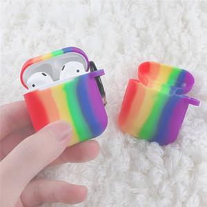 Airpods 1 Airpods 2 için anti-toz tapası ve çengellemek renkli kulaklık koruyucu durumda Rainbow yumuşak silikon Kulaklık durumda