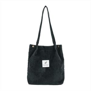 High Capacity Women Corduroy Tote Ladies Casual Solid Color Shoulder Bag Foldable Reusable Women Shopping Beach Bag 1118
