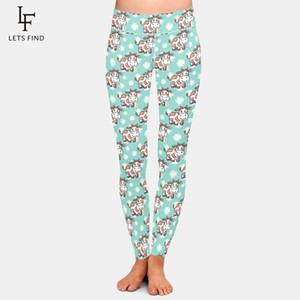 LetsFind nova chegada mulheres plus size leggings moda 3d bonito desenho animado vaca cintura alta fitness macio fitness elástico leggings 201203