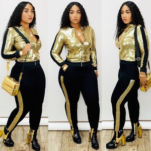 Autumn Winter Sequin 2 Piece Set Women Tracksuit Long Sleeve Jacket Top Pants Suit Streetwear Sparkly Matching Sets Club Outfits 200922