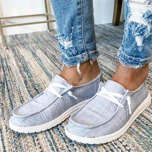 New Women Pisos Zapatos de verano Transpirable Zapatos casuales Mujer Lace Up Estudiantes Pisos Moda Mujeres Plus Tamaño Lace-Up # CQ75
