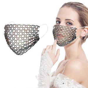newDiamond 1PC Adult Adjustable Rhinestone Breathable Flash Masquerade Mask Jewelry Mouth Cover mascarilas Masque Maske