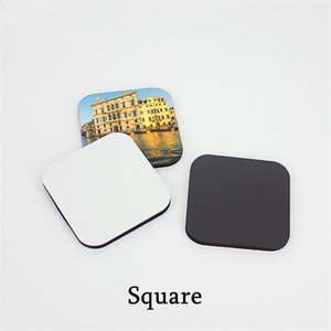 Wholesale Sublimation blank DIY Fridge Magnets Wooden MDF Refrigerator Sticker Creative Magnets Gift Heat transfer Round Rectangle Square