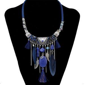 Богемная мода Посеребренная кожаная цепная цепь из смолы бусины Натренные каменные перья кисточка колье ожерелье для женских ювелирных изделий