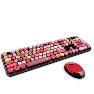 MOFII Sweet Mixed Color Cute Portable 2.4Ghz Wireless Keyboard and Mouse Set Girl Universal Desktop Notebook Keyboard and Mouse