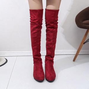 di GAOKE Donna Alta scarpe stivali di modo delle donne sopra il ginocchio alto stivali autunno inverno Bota Feminina Coscia