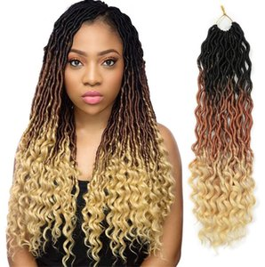 20inch Goddess Locs Braiding Hair Extension Synthetic Faux Locs Ombre 3 ToneCrochet Braids 24 strands Curly Bohemian locks