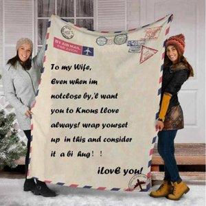 Coral Fleece Blanket mensaje impreso letra edredones Pad Nap oficina de Air Conditioner Mantas animar y HWC3422 Manta Amor