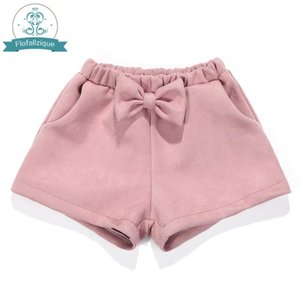 Toddler Girls Shorts 2020Autumn winter Elastic Waist Loose Suede Short Pants Fashion bowknot Pink Baby Girl Shorts kids Clothing