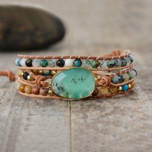 Exclusive New Women Bracelets Natural Stone Lava Beads 3 Strands Leather Wrap Bracelet Beads Bracelets Femme Dropshipping