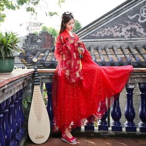 2020 Ancient Chinese Costume Women Stage Performance Outfit Hanfu Costume Satin Chinese Traditional Folk Dance Dress