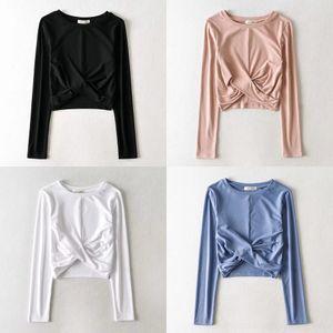 sJ8Vb Женская одежда осень 2020 новый пупок шею длинный тонкий узел подвергается круглый и короткий рукав груди футболка футболка xt6hi