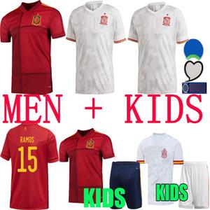 2020 스페인 저지 홈 멀리 축구 유니폼 2021 Paco Alcacer Asensio Morata Isco Iniesta 사울 남성 키트 스포츠 축구 셔츠