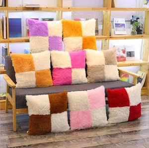 Chair Cushion Winter Autumn Plush Chair Pad Patchwoek Color Anti-slip Cushions Student Chair Cushions Sofa Car Upholster Derocation LSK1931