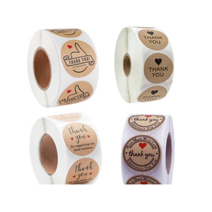 Kraft Paper Hand Made Grazie Adesivi 500pcs / roll Apprezzamento Tag Label Ai partner Business Bag tenuta appositamente per te