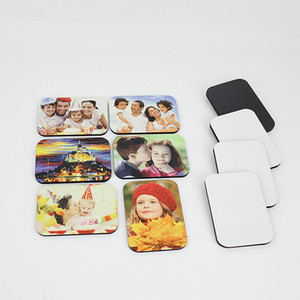 180pcs Sublimation blank DIY Fridge Magnets Wooden MDF Refrigerator Sticker Creative Magnets Gift Heat transfer Round Rectangle Square