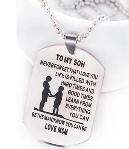 Aile Takı İÇİN MY SON Oyma Çocuk Anne Aile Etiket Yaka Anne Paslanmaz Çelik Kolye sevdi