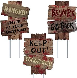 Хэллоуин украшения Остерегайтесь Знаки Ярда Stakes Открытый Creepy ассорти предупреждающий знак Scary Zombie Theme Party Decor Supplies HH9-3346