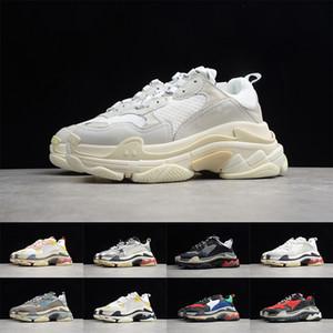 Mens Paris Triple S 17FW Sneakers TripleS Black White pai Grey Shoes Plataforma Mulheres Casual desenhista calça o instrutor Senhoras Retro