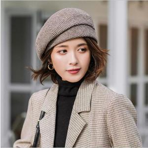 Женщины Elegant берета для зимней Женского Хлопка Шляпа плед Vintage Fashion восьмиугольного Повседневного boina Осень 2020 Cap Brand New Женского