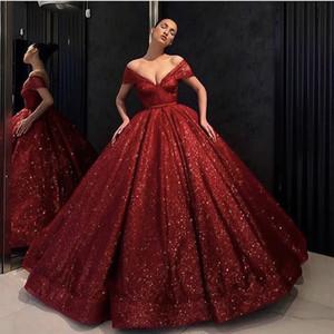 블링 블링 스팽글 Quinceanera 드레스 볼 가운 레드 2021 새로운 달콤한 16 드레스 가운 생일 파티 주름 플러스 크기 Vestidos de 15