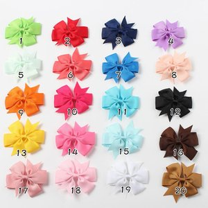Baby Hair Bow Girls Hairpins Grosgrain Ribbon Hair Ties Kids Candy Color Hairs Clips Hairwear Children Boutique Hair Bow Hanger NWD1632