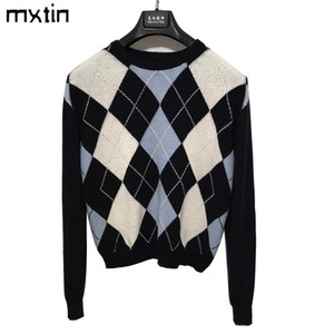 vintage stylish geometric rhombic pullover knitted sweater women 2020 fashion long sleeve hot sale outwear england style tops