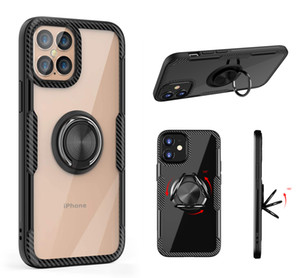 Funda de soporte de anillo de dedo de fibra de carbono de lujo Defender Armor para iPhone 7 8 Plus XR XS 11 Pro Max Samsung S20 Note 10