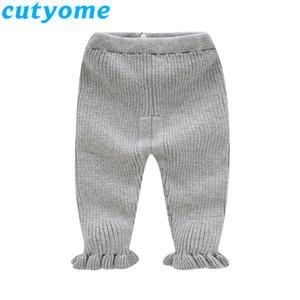 Bebek Kız Örgü Flare Pantolon Sonbahar Kış Katı Pembe / Gri Sevimli Çocuk Örgü Tayt Pantolon Kore Çocuklar Leggins Giysileri C1031