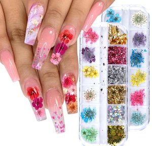 Dried Flowers Nail Art Kit Dry Mini Real Natural Flowers Nail Art Supplies 3d Applique Nail Decoration Sticker For Tip sqcGpo bdehair
