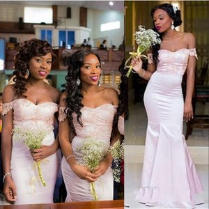 2021 Bebek Pembe Gelinlik Modelleri Düğün Konuk Elbise Mermaid Kapalı Omuz Dantel Aplikler Boncuk Afrika Bahçe Artı Boyutu Onur Kıyafeti Hizmetçi