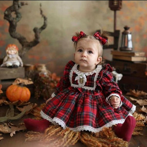 1-6Y Christmas Girls Red Dress Toddler Baby Kid Girls Lace Ruffles Tutu Party Dress Plaid Xmas Costumes Children Clothes
