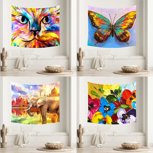Animal Oil Painting Tapestry Wall Hanging Living Room Bedroom Decoration Mural Decoration Hanging Cloth DHL Free