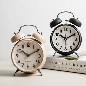 Brief Table Alarm Clock Metal Mute Bedside Time Watch Needle Digital 12 Hours Modern Clocks Decor Adornment Crafts Night Light