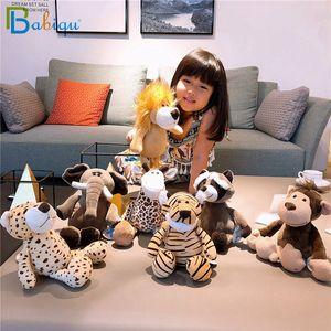 Babiqu 25 centímetros Zebra Giraffe populares Forest Animals Stuffed Boneca Plush Series selva elefante animal macaco Lion BRINQUEDOS caçoa o presente
